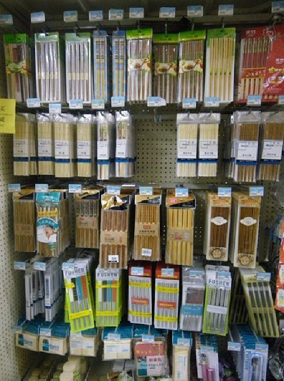 a large selection of chopsticks